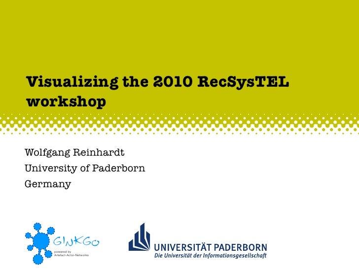 Visualizing the 2010 RecSysTEL workshop   Wolfgang Reinhardt University of Paderborn Germany          GINKGO      powered ...