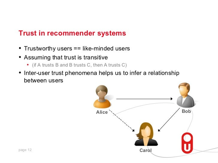 Trust in recommender systems•   Trustworthy users == like-minded users•   Assuming that trust is transitive     • (if A tr...