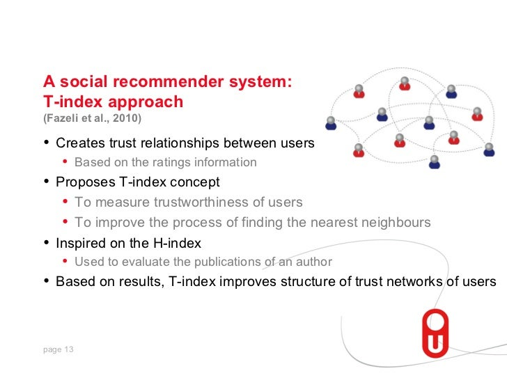 A social recommender system:T-index approach(Fazeli et al., 2010)•   Creates trust relationships between users     •    Ba...