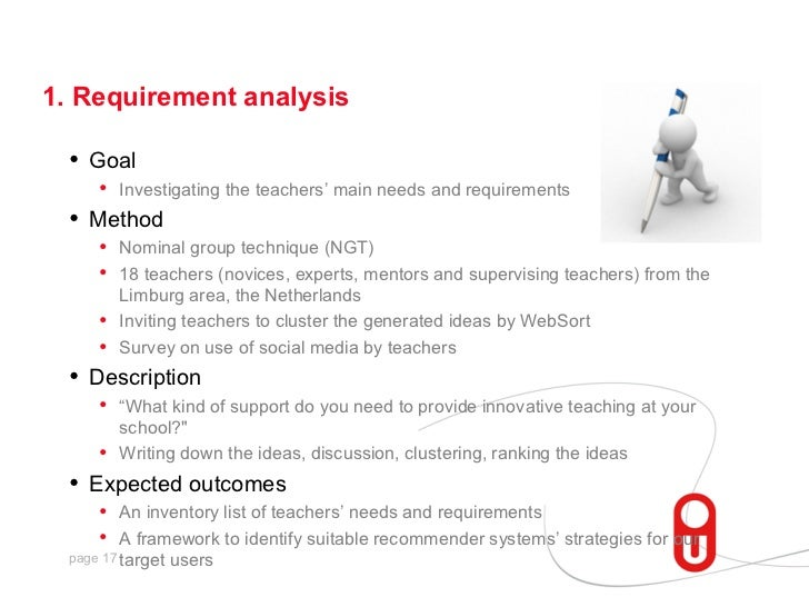 1. Requirement analysis  •   Goal       • Investigating the teachers' main needs and requirements  •   Method       • Nomi...