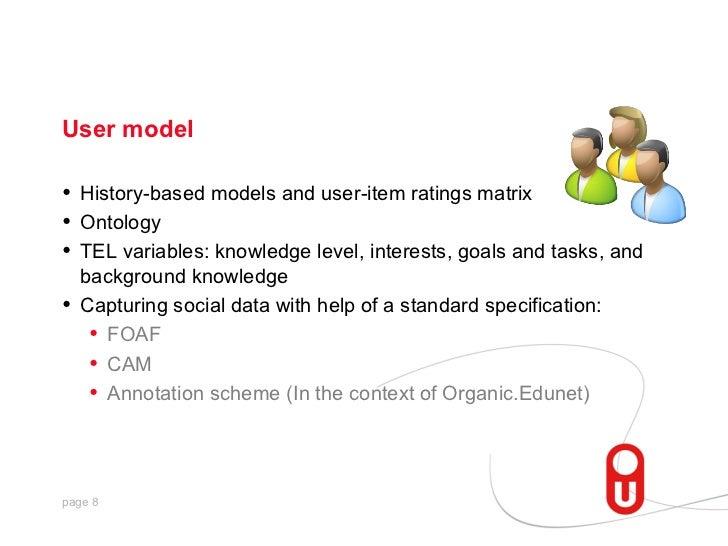 User model•   History-based models and user-item ratings matrix•   Ontology•   TEL variables: knowledge level, interests, ...