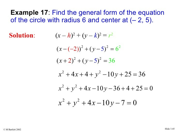 Find The Standard Form Of Equation Circle With Given Center And ...