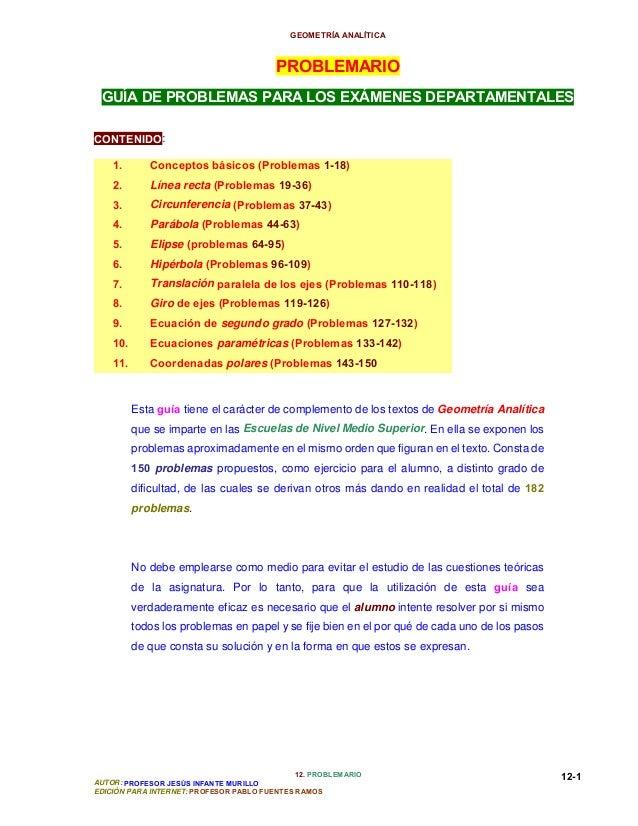 GEOMETRÍA ANALÍTICA 12. PROBLEMARIO AUTOR: PROFESOR JESÚS INFANTE MURILLO EDICIÓN PARA INTERNET: PROFESOR PABLO FUENTES RA...