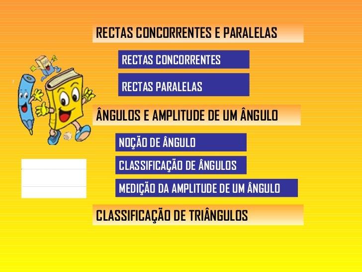 RECTAS CONCORRENTES E PARALELAS RECTAS CONCORRENTES  RECTAS PARALELAS   ÂNGULOS E AMPLITUDE DE UM ÂNGULO MEDIÇÃO DA AMPLIT...