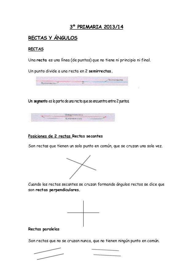 3º PRIMARIA 2013/14 RECTAS Y ÁNGULOS RECTAS Una recta es una línea (de puntos) que no tiene ni principio ni final. Un punt...