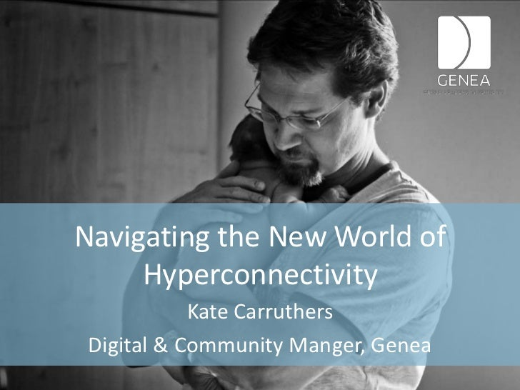 Navigating the New World of     Hyperconnectivity            Kate Carruthers Digital & Community Manger, Genea
