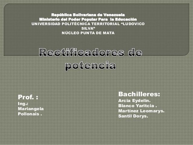 """República Bolivariana de VenezuelaMinisterio del Poder Popular Para la EducaciónUNIVERSIDAD POLITÉCNICA TERRITORIAL """"LUDOV..."""