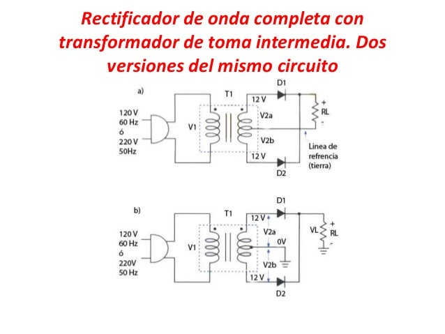 Circuito Rectificador De Media Onda : Rectificador de onda completa con transformador toma ok