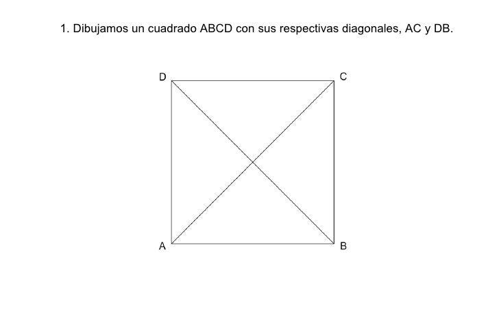 1. Dibujamos un cuadrado ABCD con sus respectivas diagonales, AC y DB.