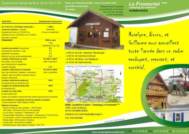 Plaquette commerciale pour le camping Le Fromentel