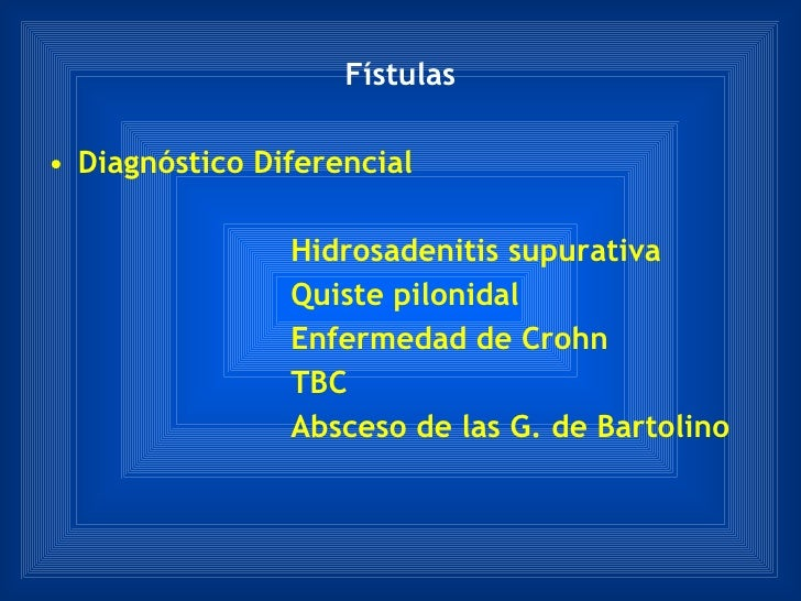 Fístulas <ul><li>Diagnóstico Diferencial </li></ul><ul><li>Hidrosadenitis supurativa </li></ul><ul><li>Quiste pilonidal </...