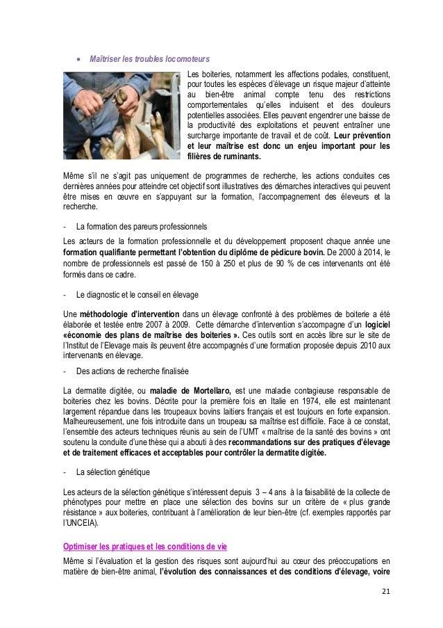 22  des animaux eux-mêmes, rend toujours nécessaire la poursuite de travaux et la mise à jour des référentiels sur les con...