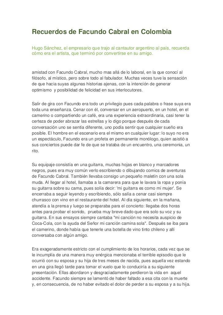 Recuerdos de Facundo Cabral en Colombia<br />Hugo Sánchez, el empresario que trajo al cantautor argentino al país, recuerd...