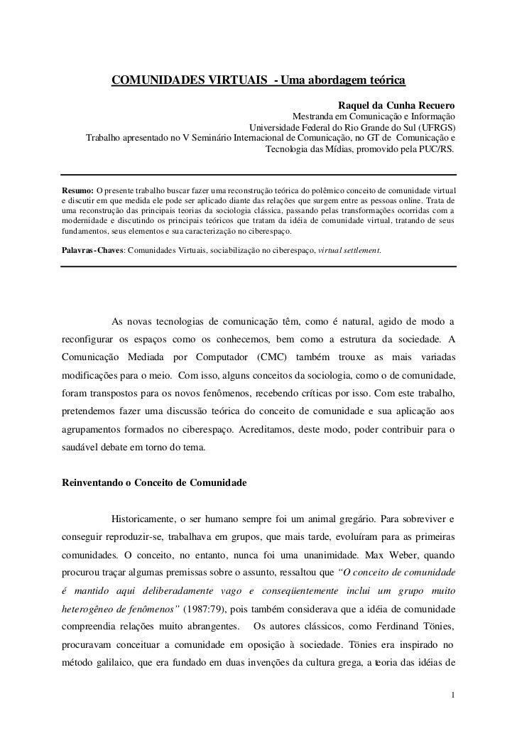 COMUNIDADES VIRTUAIS - Uma abordagem teórica                                                                             R...