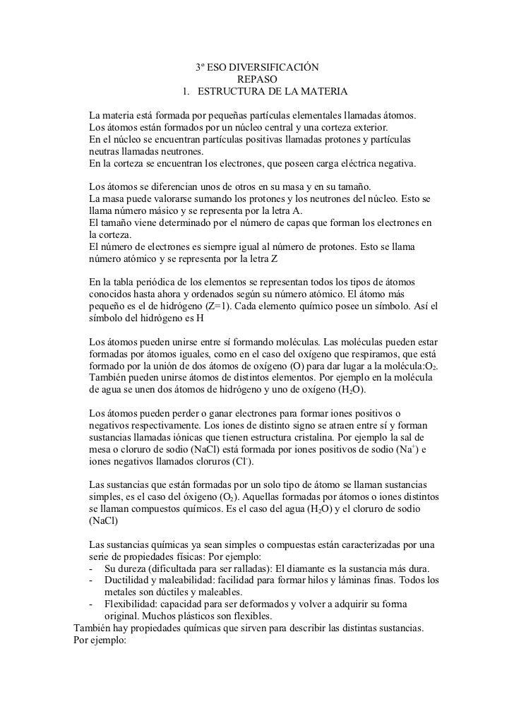3º ESO DIVERSIFICACIÓN                                    REPASO                         1. ESTRUCTURA DE LA MATERIA   La ...