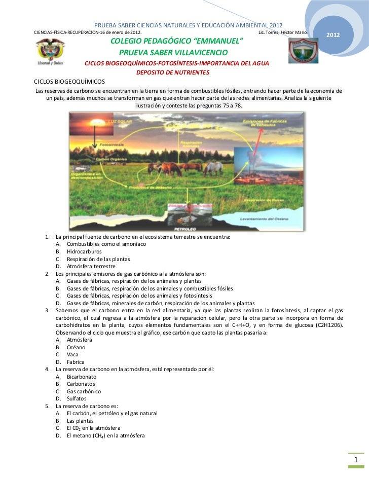 PRUEBA SABER CIENCIAS NATURALES Y EDUCACIÓN AMBIENTAL 2012CIENCIAS-FÍSICA-RECUPERACIÓN-16 de enero de 2012.               ...
