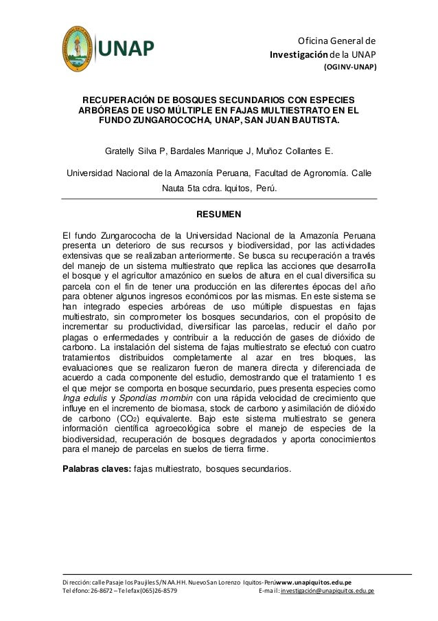 Oficina General de Investigación dela UNAP (OGINV-UNAP) Dirección:calle Pasaje los Paujiles S/N AA.HH. NuevoSan Lorenzo Iq...