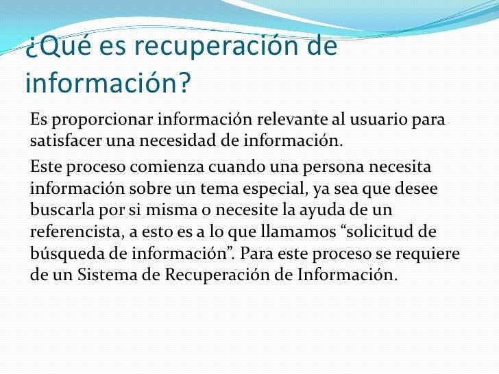 Recuperación de la información Slide 2