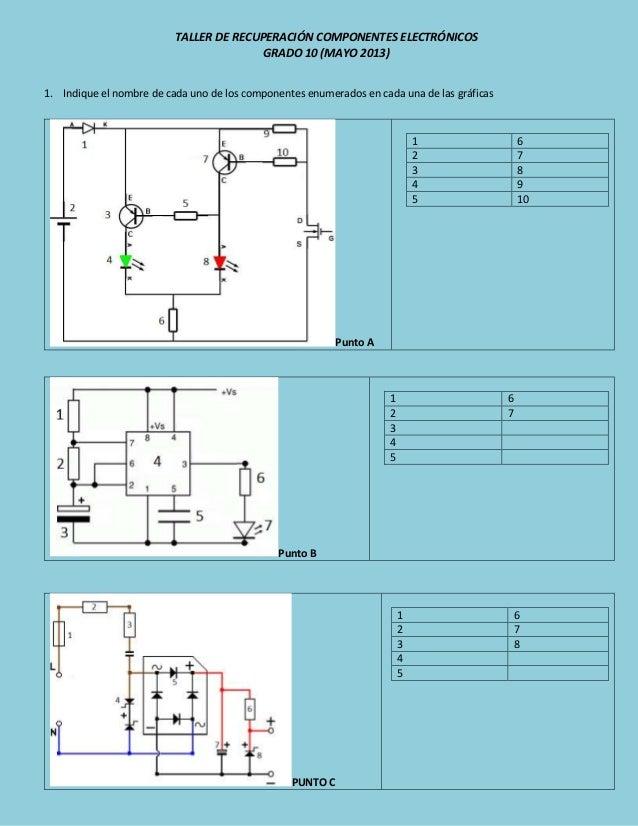 TALLER DE RECUPERACIÓN COMPONENTES ELECTRÓNICOSGRADO 10 (MAYO 2013)1. Indique el nombre de cada uno de los componentes enu...