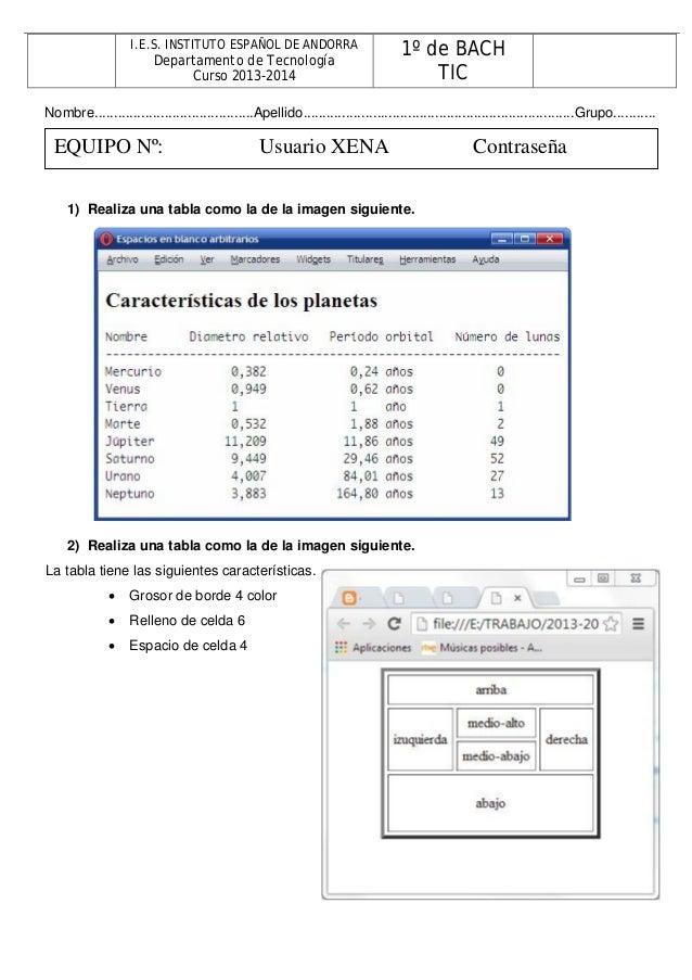 I.E.S. INSTITUTO ESPAÑOL DE ANDORRA Departamento de Tecnología Curso 2013-2014 1º de BACH TIC Nombre.........................