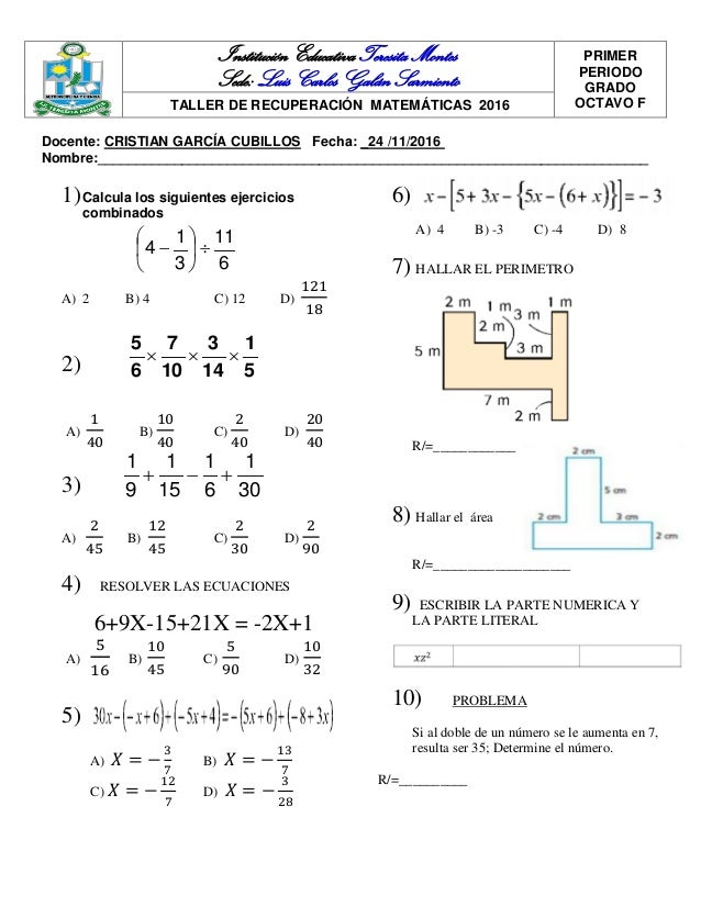 Moderno Ejercicios De Matemáticas De 8º Grado Bosquejo - hojas de ...