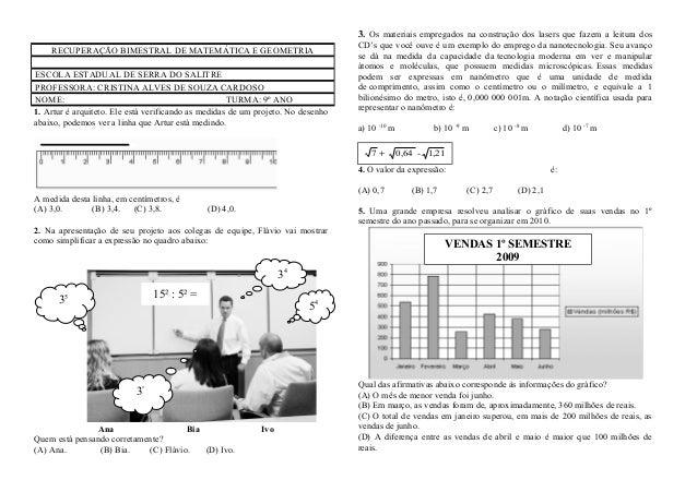 1. Artur é arquiteto. Ele está verificando as medidas de um projeto. No desenhoabaixo, podemos ver a linha que Artur está ...