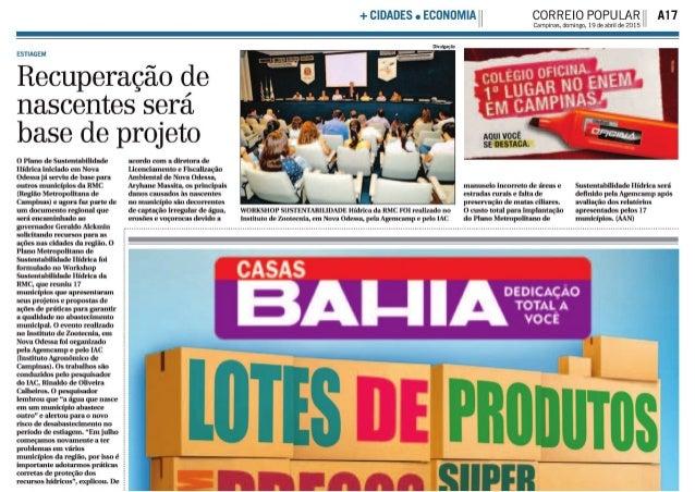 """+CIDADES c ECONOMIA"""" CORREIO POPULAR A17  Campinas,  domingo,  19 de abvil de 2015  Divulgação  ESTIAGEM  Recuperação de  ..."""