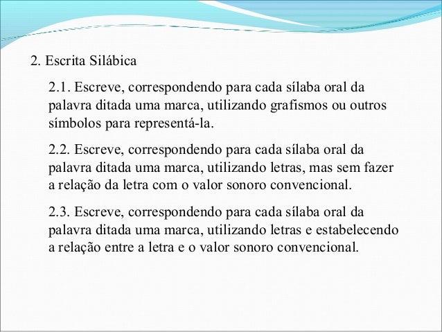 2. Escrita Silábica 2.1. Escreve, correspondendo para cada sílaba oral da palavra ditada uma marca, utilizando grafismos o...