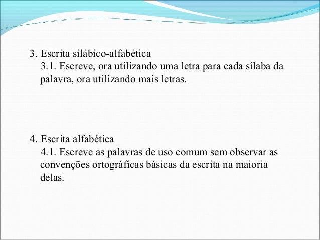 3. Escrita silábico-alfabética 3.1. Escreve, ora utilizando uma letra para cada sílaba da palavra, ora utilizando mais let...