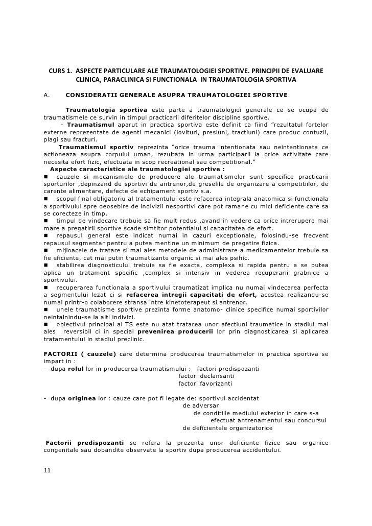 CURS 1. ASPECTE PARTICULARE ALE TRAUMATOLOGIEI SPORTIVE. PRINCIPII DE EVALUARE         CLINICA, PARACLINICA SI FUNCTIONALA...