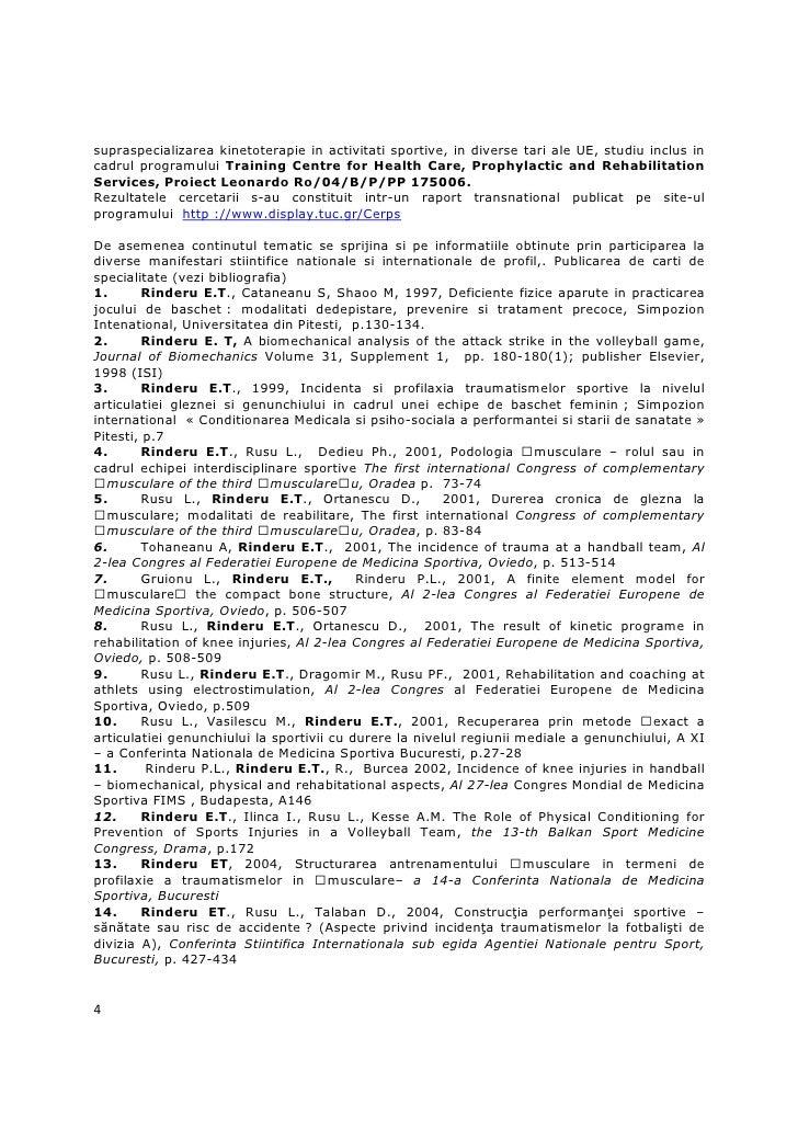 supraspecializarea kinetoterapie in activitati sportive, in diverse tari ale UE, studiu inclus incadrul programului Traini...