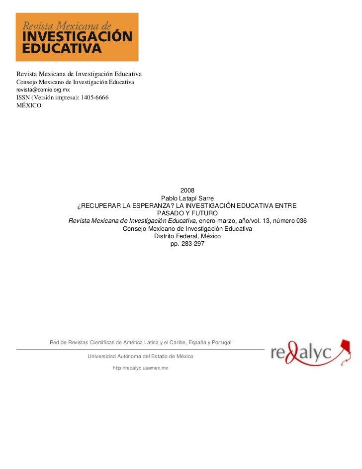 Revista Mexicana de Investigación EducativaConsejo Mexicano de Investigación Educativarevista@comie.org.mxISSN (Versión im...