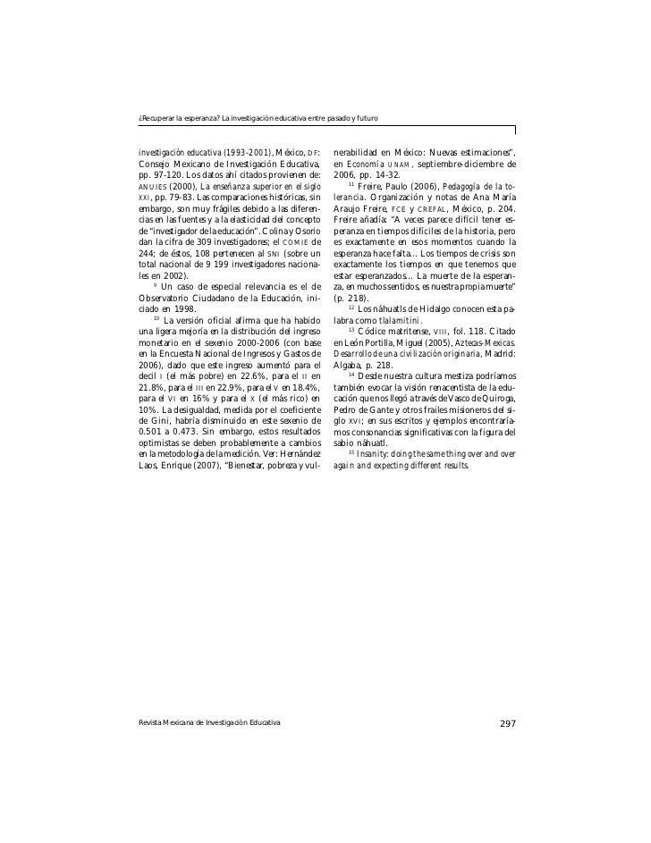 ¿Recuperar la esperanza? La investigación educativa entre pasado y futuroinvestigación educativa (1993-2001), México, DF: ...