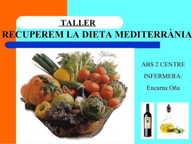 RECUPEREM LA DIETA MEDITERRÀNIA TALLER ABS 2 CENTRE INFERMERA: Encarna Oña