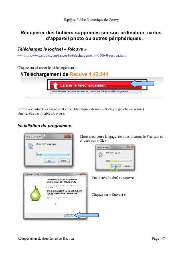 Esp@ce Public Numérique de Gouvy  Récupérer des fichiers supprimés sur son ordinateur, cartes            dappareil photo o...