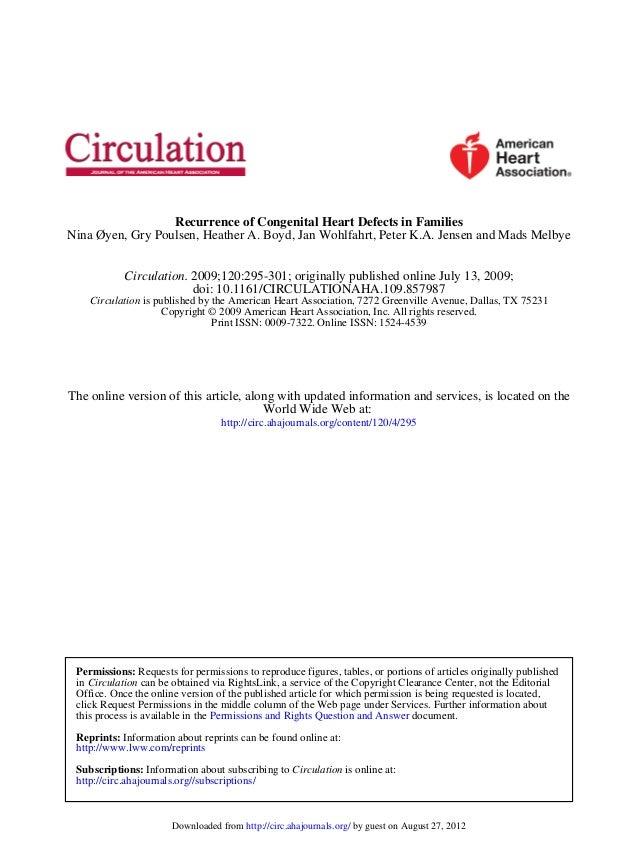 Nina Øyen, Gry Poulsen, Heather A. Boyd, Jan Wohlfahrt, Peter K.A. Jensen and Mads Melbye Recurrence of Congenital Heart D...