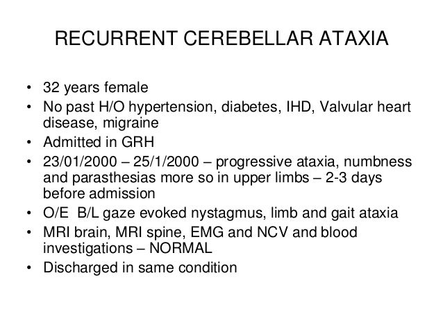 recurrent cerebellar ataxia website, Skeleton