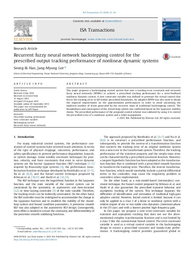 Recurrent fuzzy neural network backstepping control for the prescribed output tracking performance of nonlinear dynamic sy...