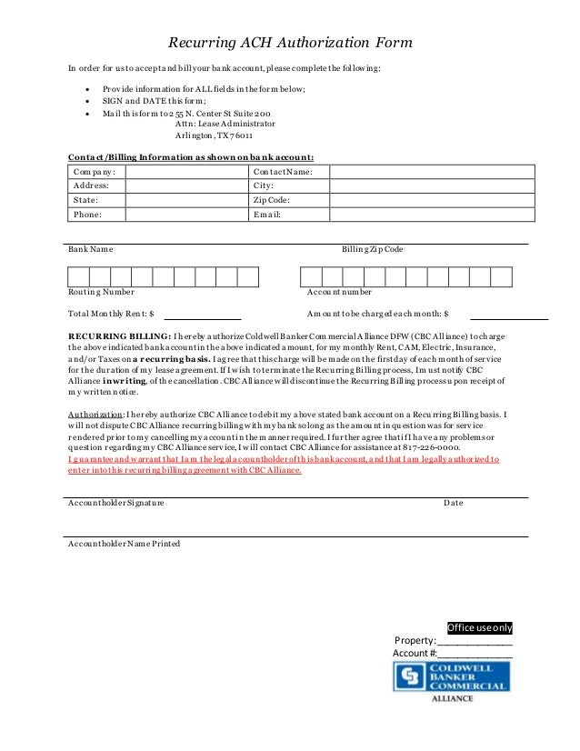 recurring ach authorization form. Black Bedroom Furniture Sets. Home Design Ideas