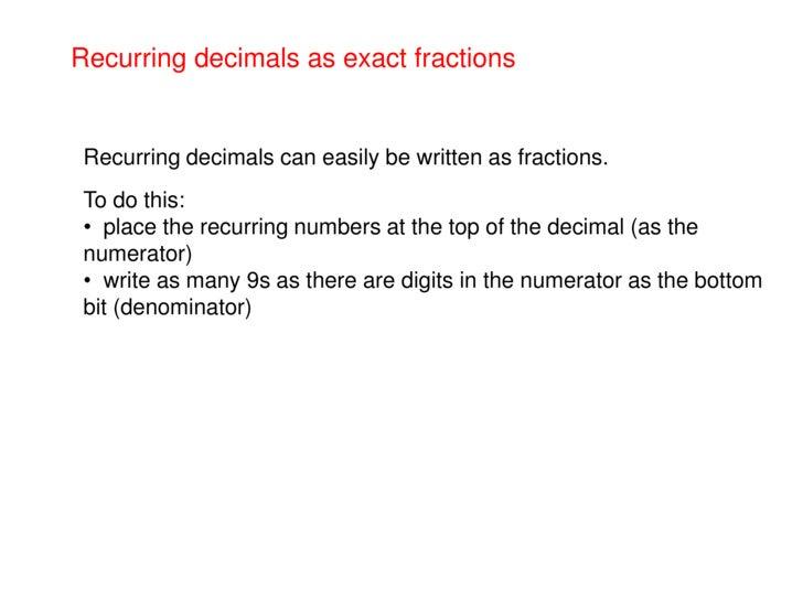 Recurring Decimals As