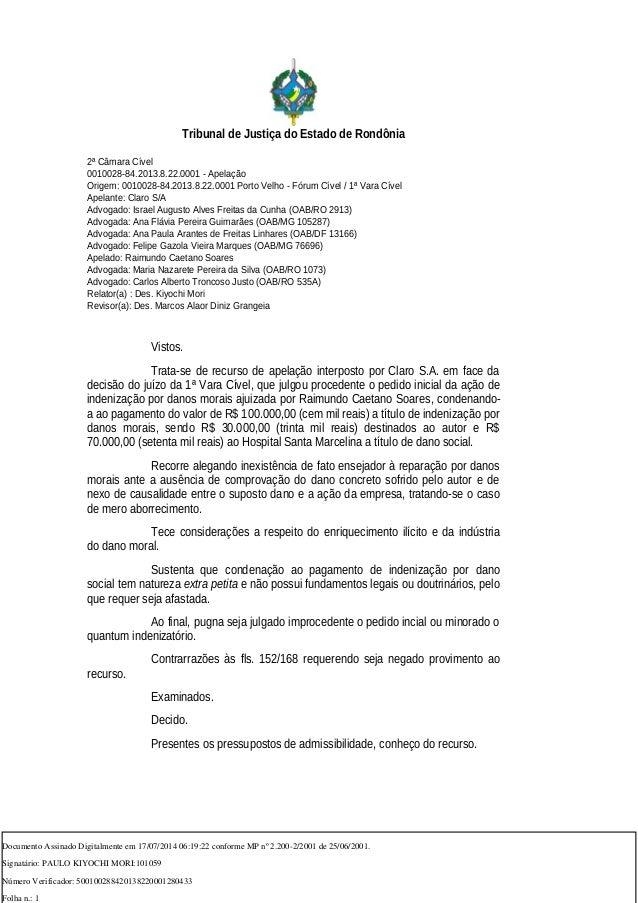 Tribunal de Justiça do Estado de Rondônia 2ª Câmara Cível 0010028-84.2013.8.22.0001 - Apelação Origem: 0010028-84.2013.8.2...