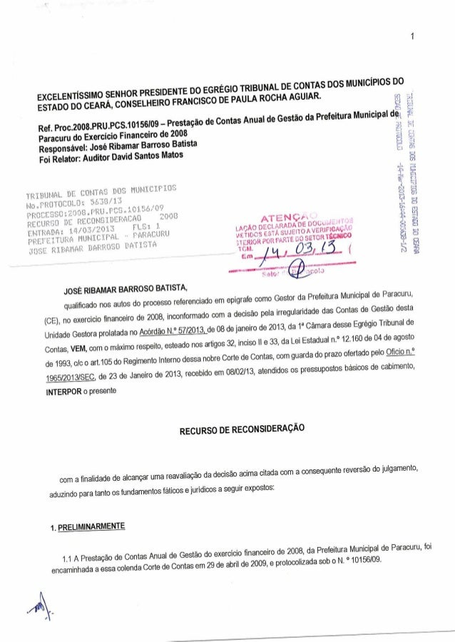 1  EXCELENTÍSSIMO SENHOR PRESIDENTE DO EGRÉGIO TRIBUNAL DE CONTAS DOS MUNICÍPIOS DO  ESTADO DO CEARÁ, CONSELHEIRO FRANCISC...
