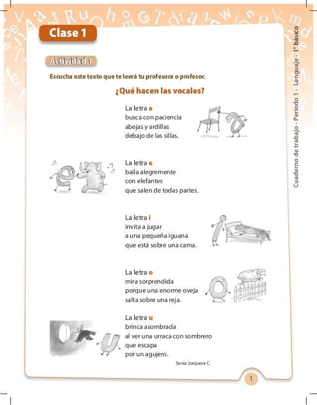 1 Cuadernodetrabajo-Período1-Lenguaje-1°básico La letra a busca con paciencia abejas y ardillas debajo de las sillas. La l...