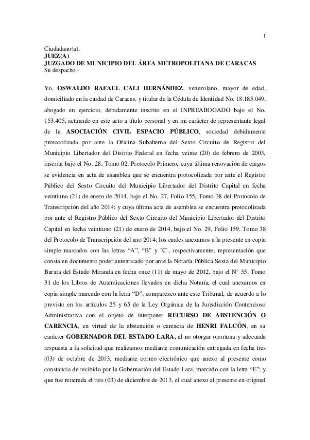 1 Ciudadano(a), JUEZ(A) JUZGADO DE MUNICIPIO DEL ÁREA METROPOLITANA DE CARACAS Su despacho - Yo, OSWALDO RAFAEL CALI HERNÁ...
