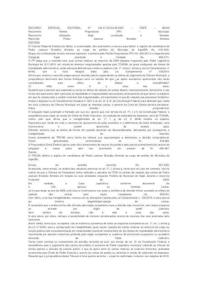 RECURSO            ESPECIAL          ELEITORAL         Nº        143-41.2012.6.05.0027        –        ITAPÉ           –  ...