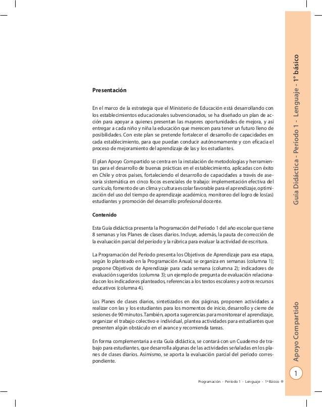 1 GuíaDidáctica-Período1-Lenguaje-1°básicoApoyoCompartido Programación - Período 1 - Lenguaje - 1º Básico Presentación En ...