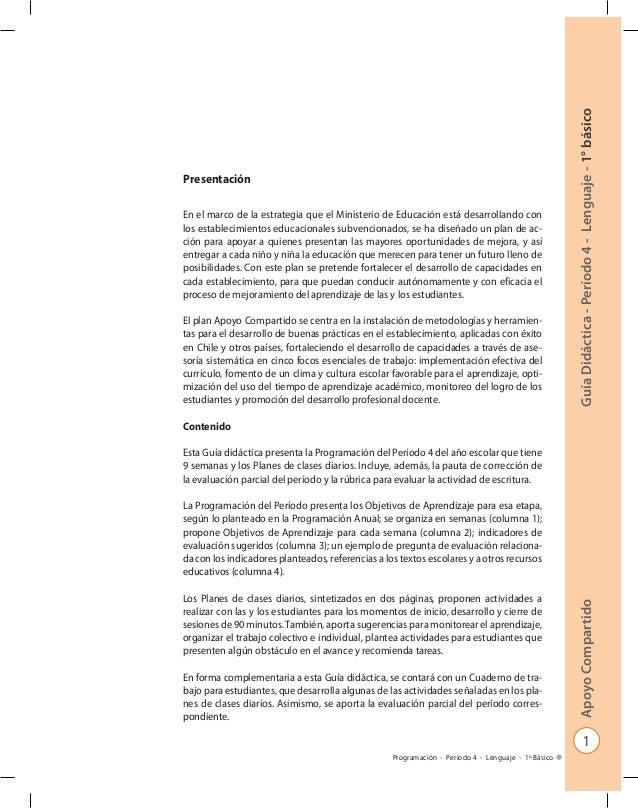 Apoyo Compartido Guía Didáctica - Período 4 - Lenguaje - 1° básico  1  Programación - Período 4 - Lenguaje - 1º Básico  Pr...