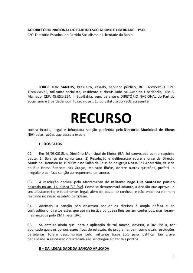 1 AO DIRETÓRIO NACIONAL DO PARTIDO SOCIALISMO E LIBERDADE – PSOL C/C: Diretório Estadual do Partido Socialismo e Liberdade...