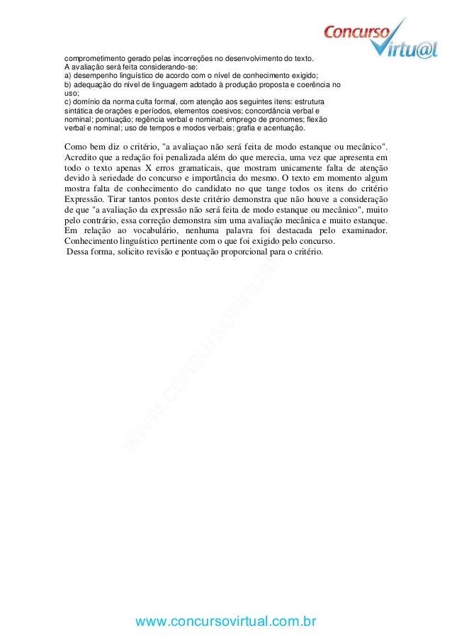 Modelo de recurso prova TRT-RJ 2013 | Provas com notas menores que 8 Slide 2