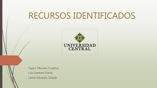 RECURSOS IDENTIFICADOS Taylor Morales Cuadros Luis Esteban Sierra Jaime Eduardo Zabala